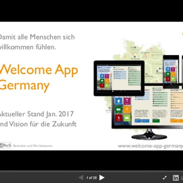 Welcome App Germany  – Präsentation Ausblick